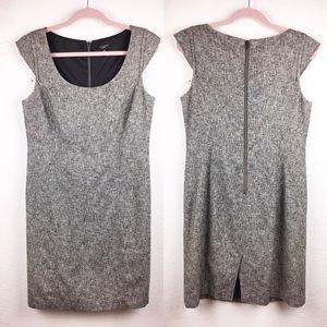 ANN TAYLOR Grey Sheath Work Dress Cap Sleeves EUC